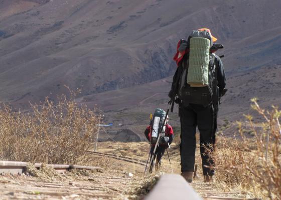 Ascenso Cerro Penitentes - Vías del tren trasandino